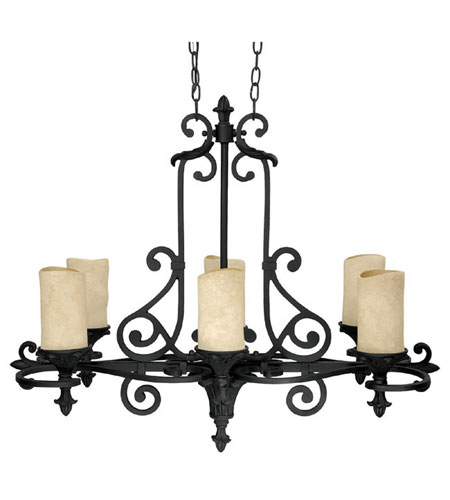 Capital Lighting Mediterranean 6 Light Chandelier in Wrought Iron with Rust Scavo Glass 3267WI-125 photo