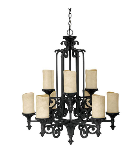 Capital Lighting Mediterranean 9 Light Chandelier in Wrought Iron with Rust Scavo Glass 3269WI-125 photo
