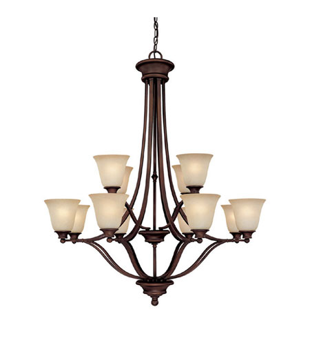 Capital Lighting Belmont 12 Light Chandelier in Burnished Bronze with Mist Scavo Glass 3412BB-287 photo