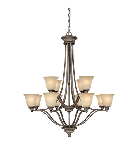 Capital Lighting Belmont 12 Light Chandelier in Creek Stone with Mist Scavo Glass 3412CS-287 photo