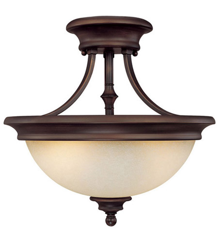 Capital Lighting Belmont 2 Light Semi-Flush Mount in Burnished Bronze with Mist Scavo Glass 3418BB photo