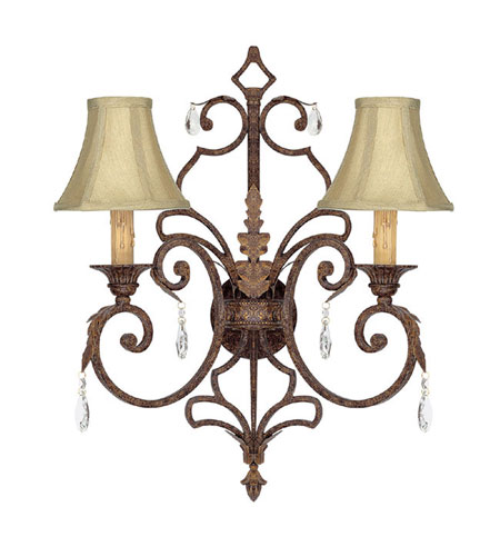 Capital Lighting Seville 2 Light Sconce in Gilded Umber with Crystals 3432GU-419-CR photo