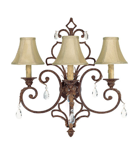 Capital Lighting Seville 3 Light Sconce in Gilded Umber with Crystals 3433GU-419-CR photo