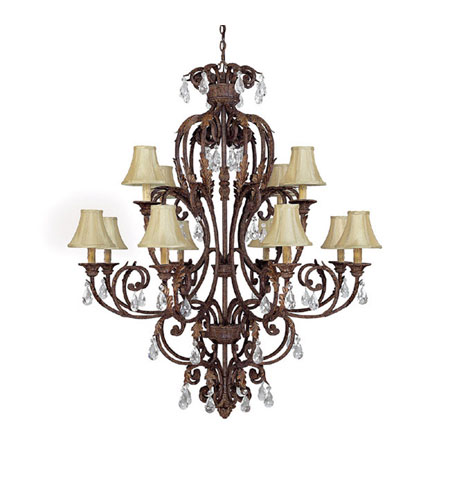 Capital Lighting Seville 12 Light Chandelier in Gilded Umber with Crystals 3442GU-419-CR photo