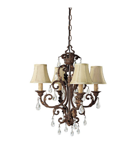 Capital Lighting Seville 4 Light Chandelier in Gilded Umber with Crystals 3443GU-417-CR photo