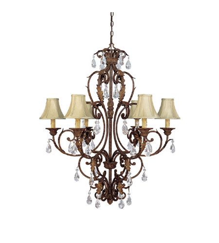 Capital Lighting Seville 6 Light Chandelier in Gilded Umber with Crystals 3446GU-419-CR photo
