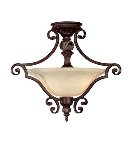 Capital Lighting Manchester 2 Light Semi-Flush Mount in Chesterfield Brown with Rust Scavo Glass 3513CB photo