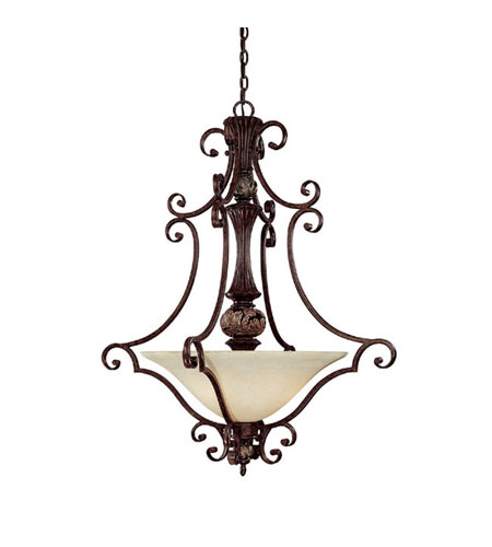 Capital Lighting Manchester 3 Light Pendant in Chesterfield Brown with Rust Scavo Glass 3514CB photo
