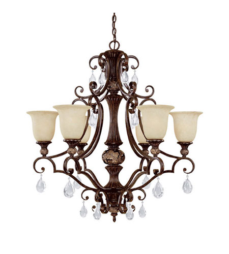 Capital Lighting Manchester 6 Light Chandelier in Chesterfield Brown with Crystals 3516CB-294-CR photo