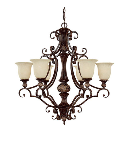 Capital Lighting Manchester 6 Light Chandelier in Chesterfield Brown with Rust Scavo Glass 3516CB-294 photo