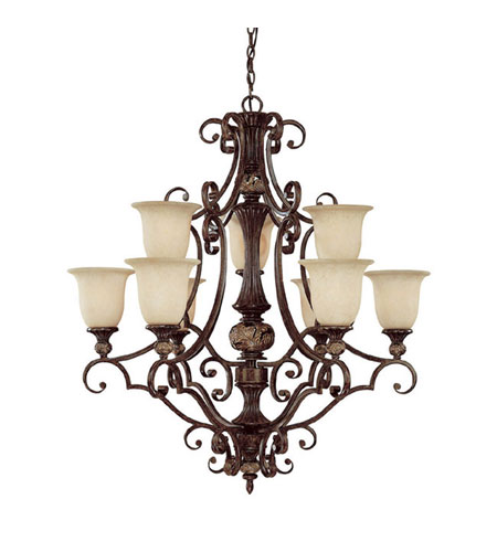 Capital Lighting Manchester 9 Light Chandelier in Chesterfield Brown with Rust Scavo Glass 3519CB-294 photo