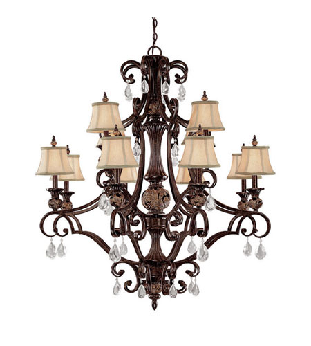 Capital Lighting Manchester 12 Light Chandelier in Chesterfield Brown with Crystals 3522CB-440-CR photo