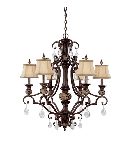 Capital Lighting Manchester 6 Light Chandelier in Chesterfield Brown with Crystals 3526CB-440-CR photo