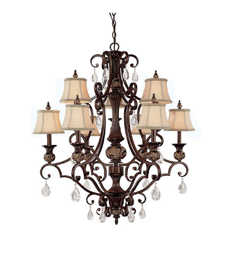 Capital Lighting Manchester 9 Light Chandelier in Chesterfield Brown with Crystals 3529CB-440-CR photo