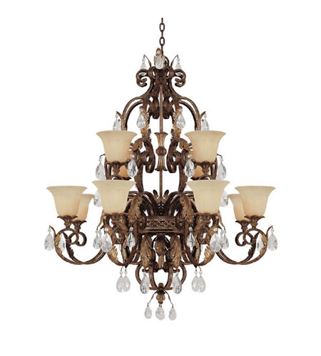 Capital Lighting Grandview 12 Light Chandelier in Dark Spice with Crystals 3542DS-241-CR photo