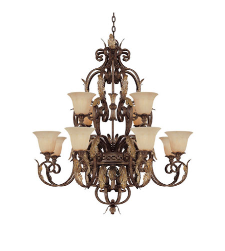Capital Lighting Grandview 12 Light Chandelier in Dark Spice with Rust Scavo Glass 3542DS-241 photo