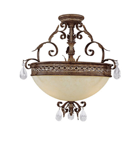 Capital Lighting Grandview 3 Light Semi-Flush in Dark Spice with Crystals 3543DS-CR photo