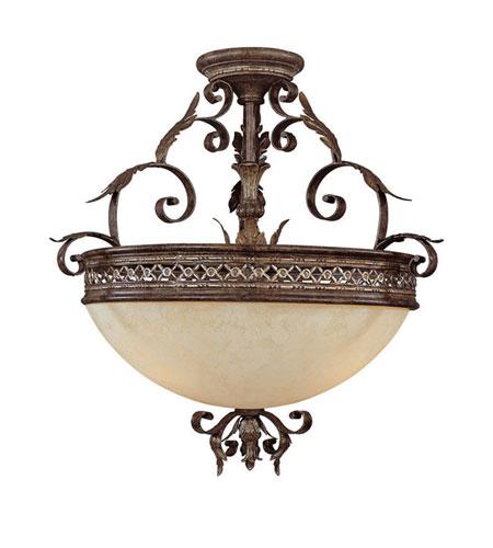 Capital Lighting Grandview 3 Light Semi-Flush Mount in Dark Spice with Rust Scavo Glass 3543DS photo