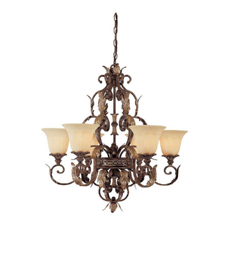 Capital Lighting Grandview 6 Light Chandelier in Dark Spice with Rust Scavo Glass 3546DS-241 photo