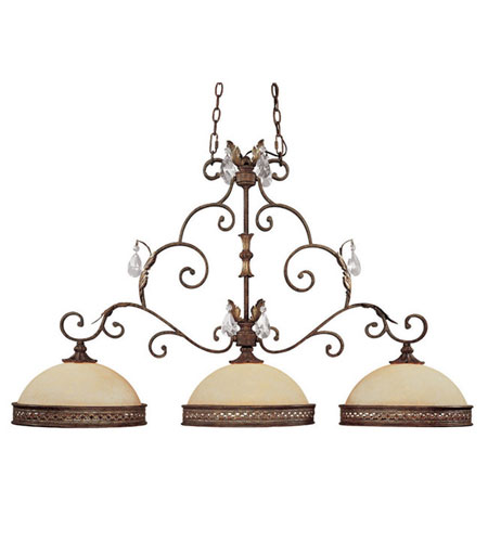 Capital Lighting Grandview 3 Light Island in Dark Spice with Crystals 3548DS-CR photo