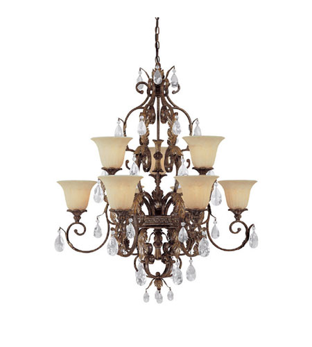 Capital Lighting Grandview 9 Light Chandelier in Dark Spice with Crystals 3549DS-241-CR photo