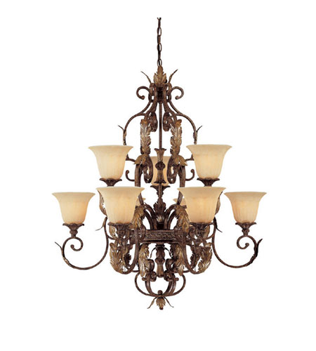 Capital Lighting Grandview 9 Light Chandelier in Dark Spice with Rust Scavo Glass 3549DS-241 photo