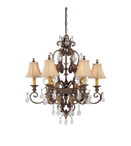 Capital Lighting Grandview 6 Light Chandelier in Dark Spice with Crystals 3556DS-438-CR photo