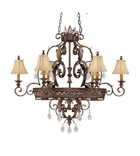 Capital Lighting Grandview 8 Light Island in Dark Spice with Crystals 3557DS-438-CR photo