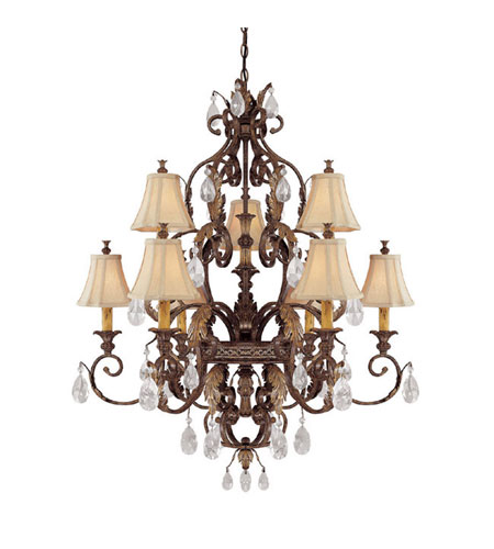 Capital Lighting Grandview 9 Light Chandelier in Dark Spice with Crystals 3559DS-438-CR photo