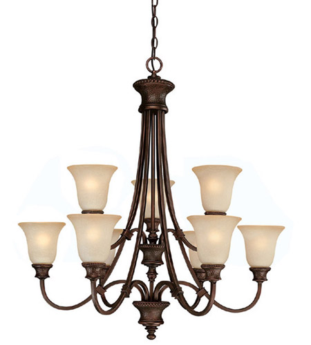 Capital Lighting Hill House 9 Light Chandelier in Burnished Bronze with Mist Scavo Glass 3569BB-252 photo