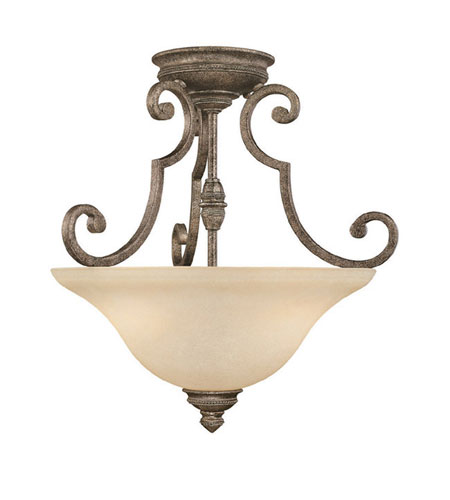 Capital Lighting Barclay 2 Light Semi-Flush Mount in Creek Stone with Mist Scavo Glass 3588CS photo