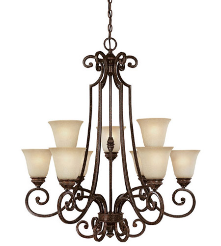 Capital Lighting Barclay 9 Light Chandelier in Chesterfield Brown with Mist Scavo Glass 3589CB-287 photo