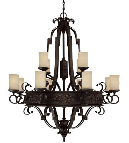 Capital Lighting River Crest 12 Light Chandelier in Rustic Iron with Rust Scavo Glass 3602RI-125 photo