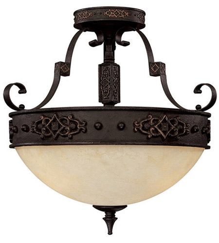 Capital Lighting River Crest 3 Light Semi-Flush Mount in Rustic Iron with Rust Scavo Glass 3603RI photo
