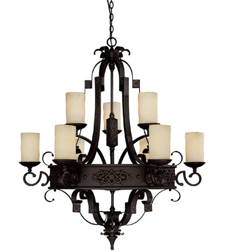 Capital Lighting 3609RI-125 River Crest 9 Light 39 inch Rustic Iron Chandelier Ceiling Light photo