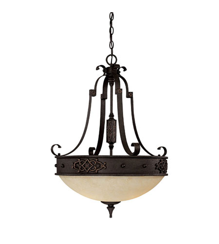 Capital Lighting River Crest 3 Light Pendant in Rustic Iron with Rust Scavo Glass 3613RI photo