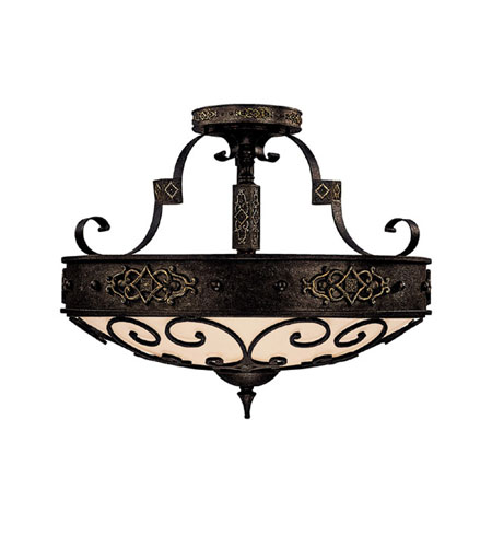 Capital Lighting River Crest 4 Light Semi-Flush Mount in Rustic Iron with Rust Scavo Glass 3615RI photo