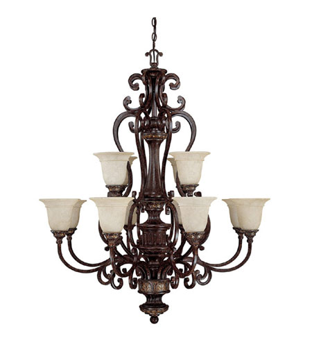 Capital Lighting Chesterfield 12 Light Chandelier in Chesterfield Brown with Rust Scavo Glass 3632CB-283 photo