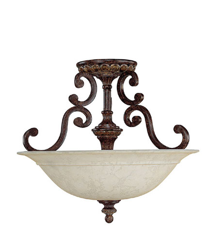 Capital Lighting Chesterfield 3 Light Semi-Flush Mount in Chesterfield Brown with Rust Scavo Glass 3633CB photo