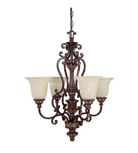Capital Lighting Chesterfield 4 Light Chandelier in Chesterfield Brown with Rust Scavo Glass 3634CB-283 photo