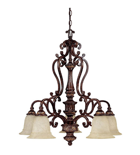 Capital Lighting Chesterfield 5 Light Chandelier in Chesterfield Brown with Rust Scavo Glass 3635CB-283 photo