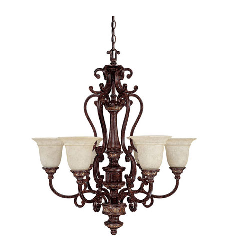 Capital Lighting Chesterfield 6 Light Chandelier in Chesterfield Brown with Rust Scavo Glass 3636CB-283 photo