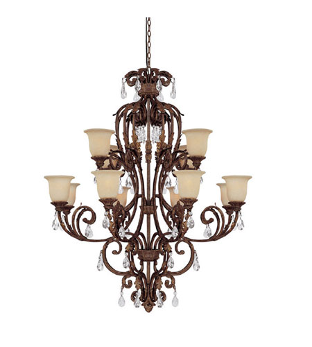 Capital Lighting Seville 12 Light Chandelier in Gilded Umber with Crystals 3642GU-294-CR photo
