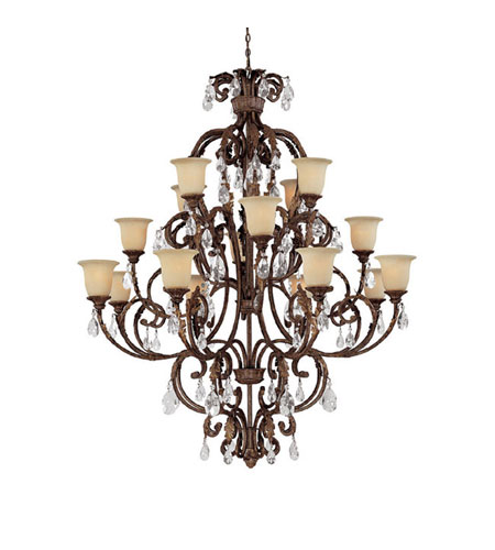 Capital Lighting Seville 16 Light Chandelier in Gilded Umber with Crystals 3648GU-294-CR photo