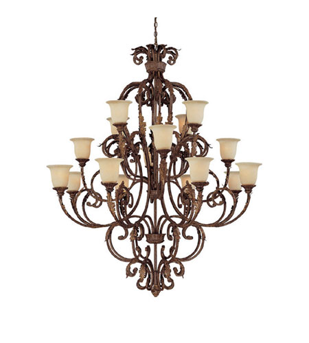 Capital Lighting Seville 16 Light Chandelier in Gilded Umber with Rust Scavo Glass 3648GU-294 photo
