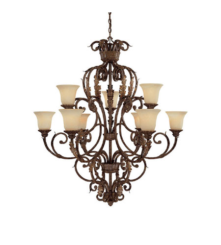 Capital Lighting Seville 9 Light Chandelier in Gilded Umber with Rust Scavo Glass 3649GU-254 photo
