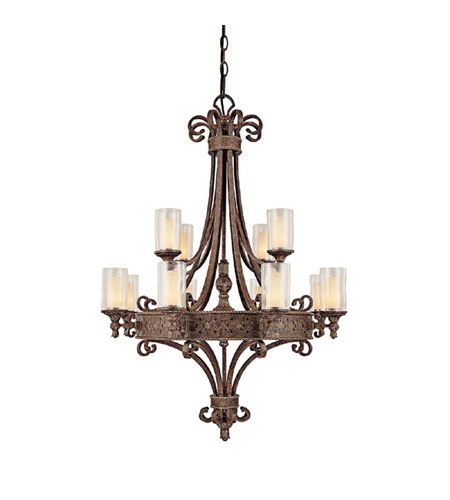 Capital Lighting Squire 12 Light Chandelier in Crusted Umber with Seeded Glass 3652CU-286 photo