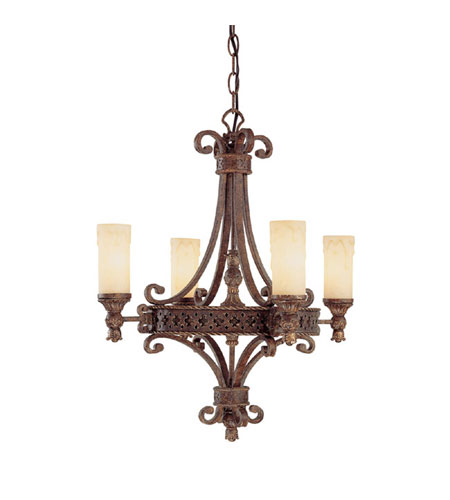 Capital Lighting Squire 4 Light Chandelier in Crusted Umber with Rust Scavo Glass 3654CU-288 photo