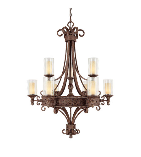 Capital Lighting Squire 9 Light Chandelier in Crusted Umber with Seeded Glass 3659CU-286 photo