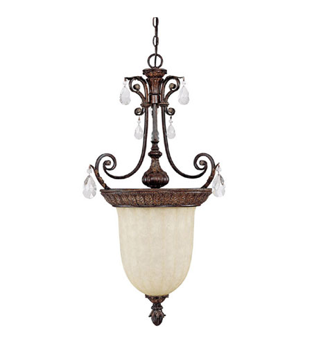 Capital Lighting Sheffield 2 Light Pendant in Chesterfield Brown with Crystals 3683CB-CR photo